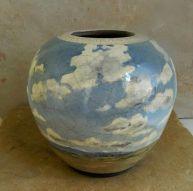 "Raku Vase, 8"" h x 8""w, stoneware painted with underglazes, clear crackle"