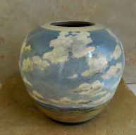 "Raku Vase, 8"" h x 8""w, stoneware painted with underglazes, clear crackle"
