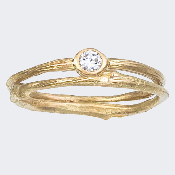 Simple Engagement Ring and Matching Band Set, image via BMJNYC