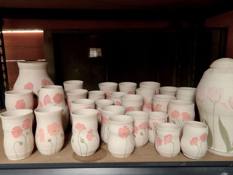 Poppy cups & vase, Tulip jar