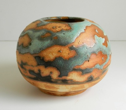 "Turquoise Sky Vase, 9"" h x 10"" w, wood-fired to cone 10"
