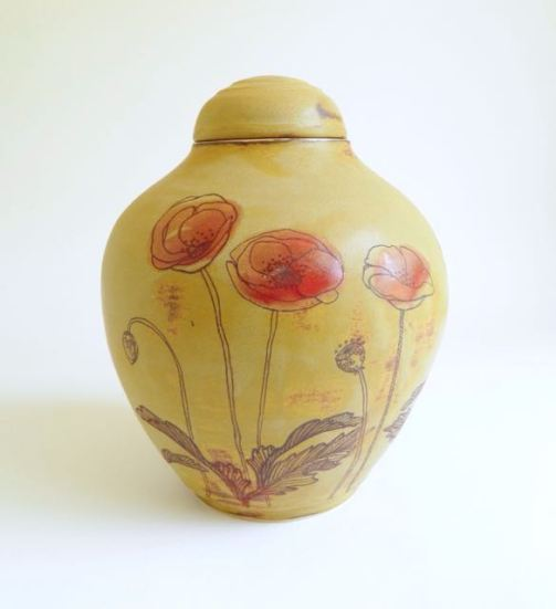 ceramic poppies urn
