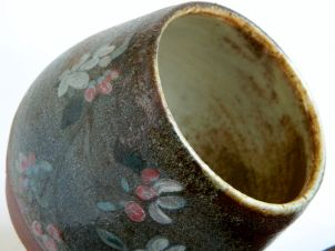 "Flower Bowl, 4"" h x 3.5"" w, hand-painted and wood-fired to cone 10"