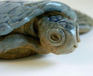 "Ceramic Sea Turtle (detail), 8"" x 8"" x 2"""