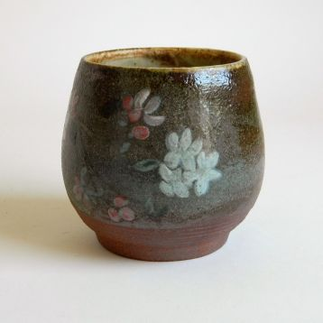 """Apple Blossom Bowl, $40. 4"""" h x 3.5"""" w, painted with underglazes and wood-fired to cone 10"""