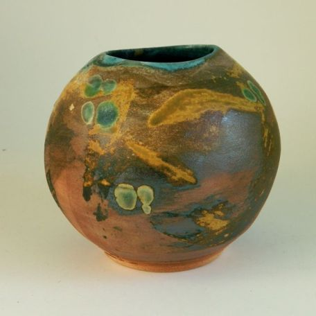 "Vase with Asymmetrical Mouth, 5.75"" x 6"" $95"