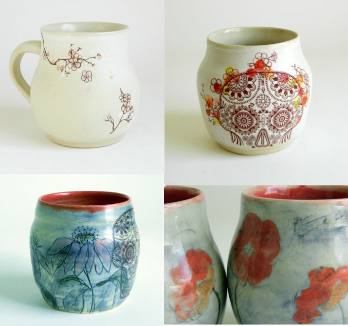July 30: New work, hand-painted cups with skull and original drawing decals; 4 oz-8 oz.