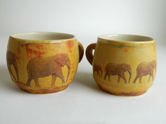 Pair of Elephant Mugs, 3.25