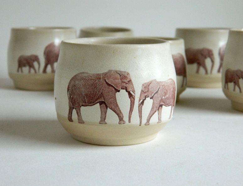 Set of Elephant Espresso Cups, 2