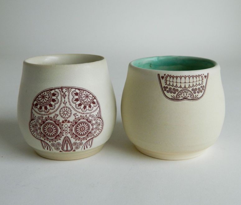Pair of Sugar Skull Cups with Creepy Detached Jaw, 3.5