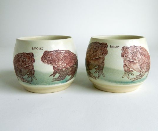 Pair of Toad Love Mugs