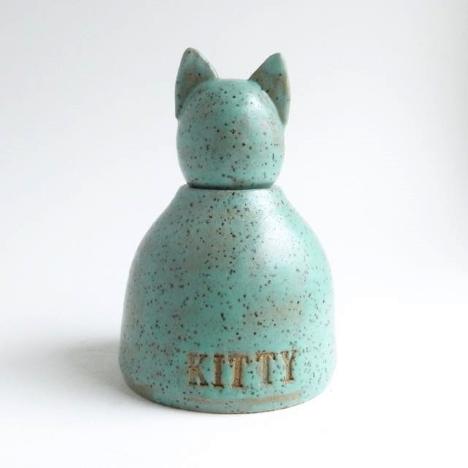 turquoise cat urn